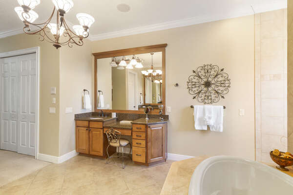 Vanity in the master bathroom