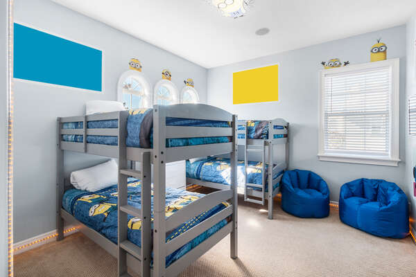 Kids will love the custom bedroom with two twin/twin bunk beds