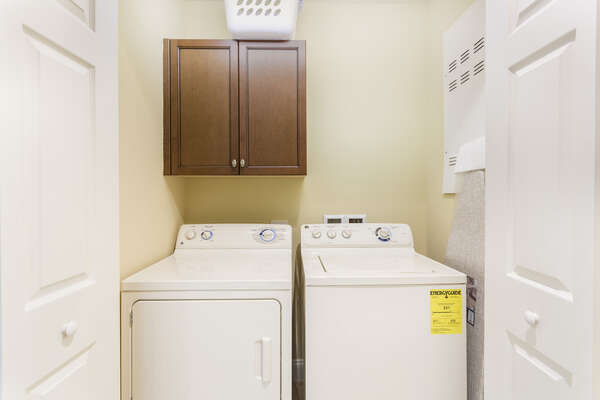 The condo has a full sized washer and dryer