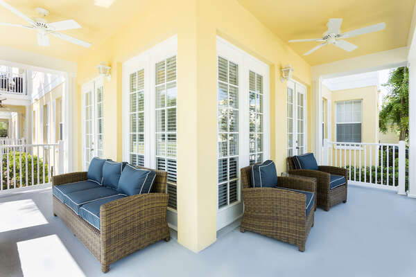 The large wrap around porch has luxury outdoor seating
