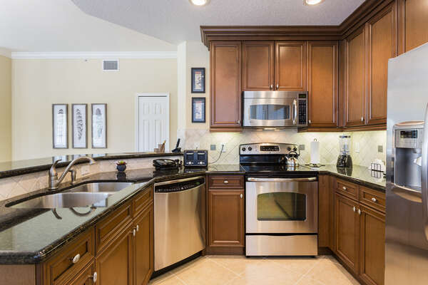 The fully upgraded kitchen