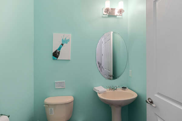 A first floor half bathroom is very convenient for the whole family