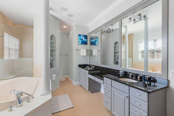 Each master bathroom offers a large walk-in closet, shower and his and hers sinks