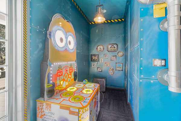 Have a blast playing the Minion arcade game - win two points for whacking the angry minions, but lose a point for hitting the good minions
