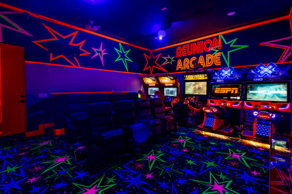 Play all day in the super fun black-light arcade with connected racing snow cross, race grid, Terminator and basketball arcades