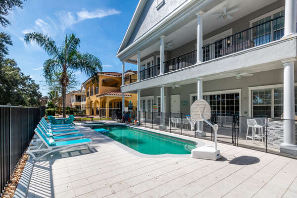 The home comes equipped with a pool fence and self-closing gate to guarantee pool safety