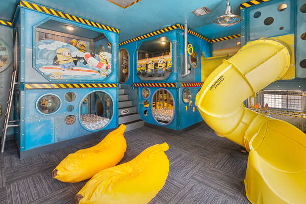 This will surely be the favorite room of the home with 4 full beds, spiral slide, connect tubes, play areas and secret passages