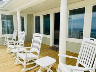 Upstairs oceanside deck - great for taking in the sun