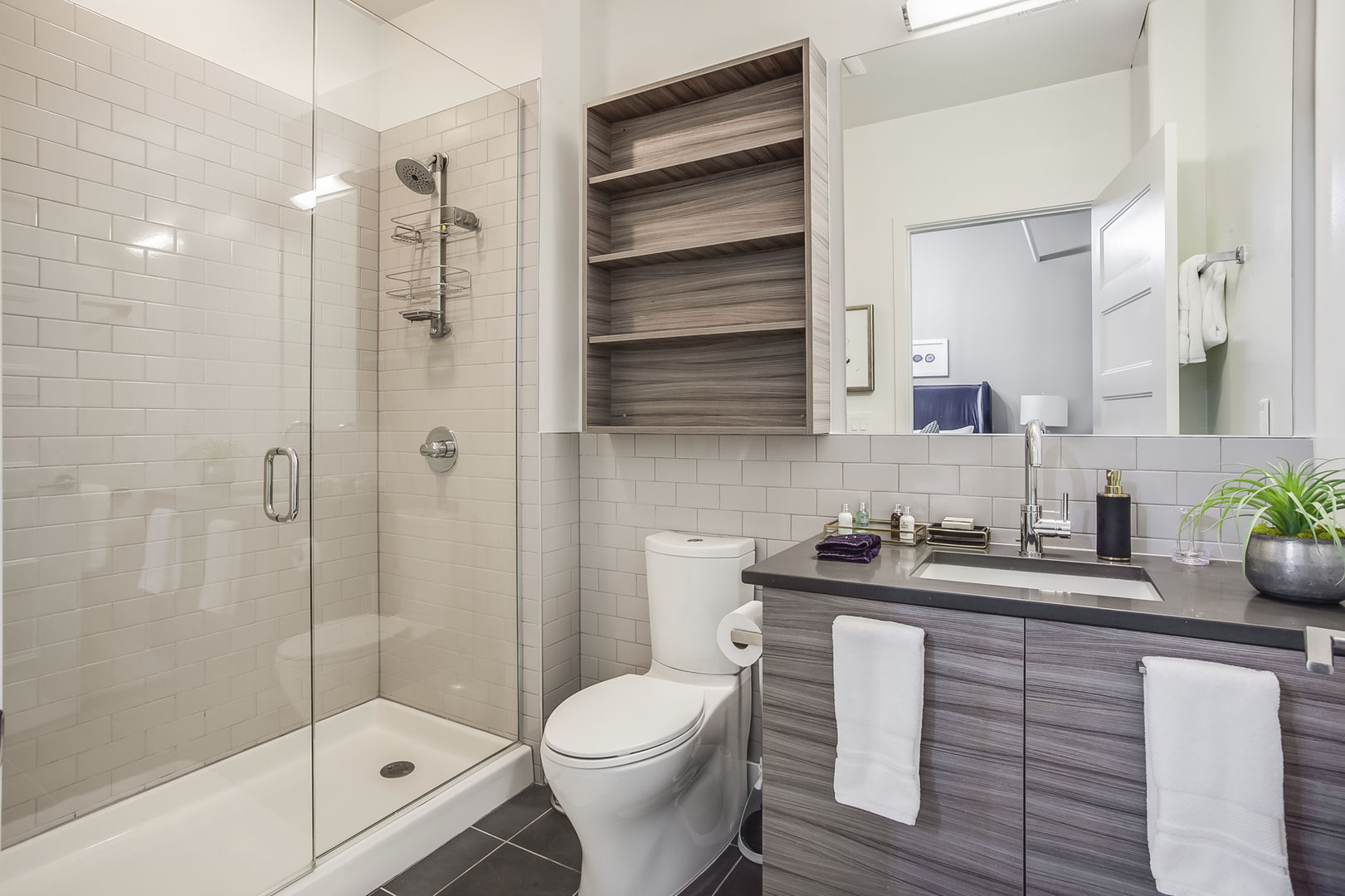 Master Bathroom Features a Walk-In Shower