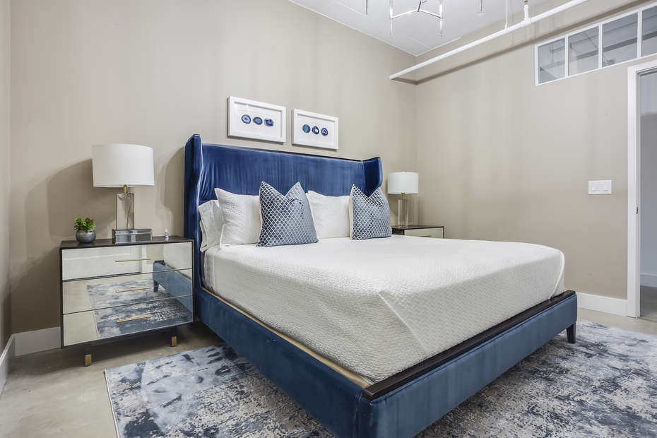 Cool Blue Design in the Master Bedroom