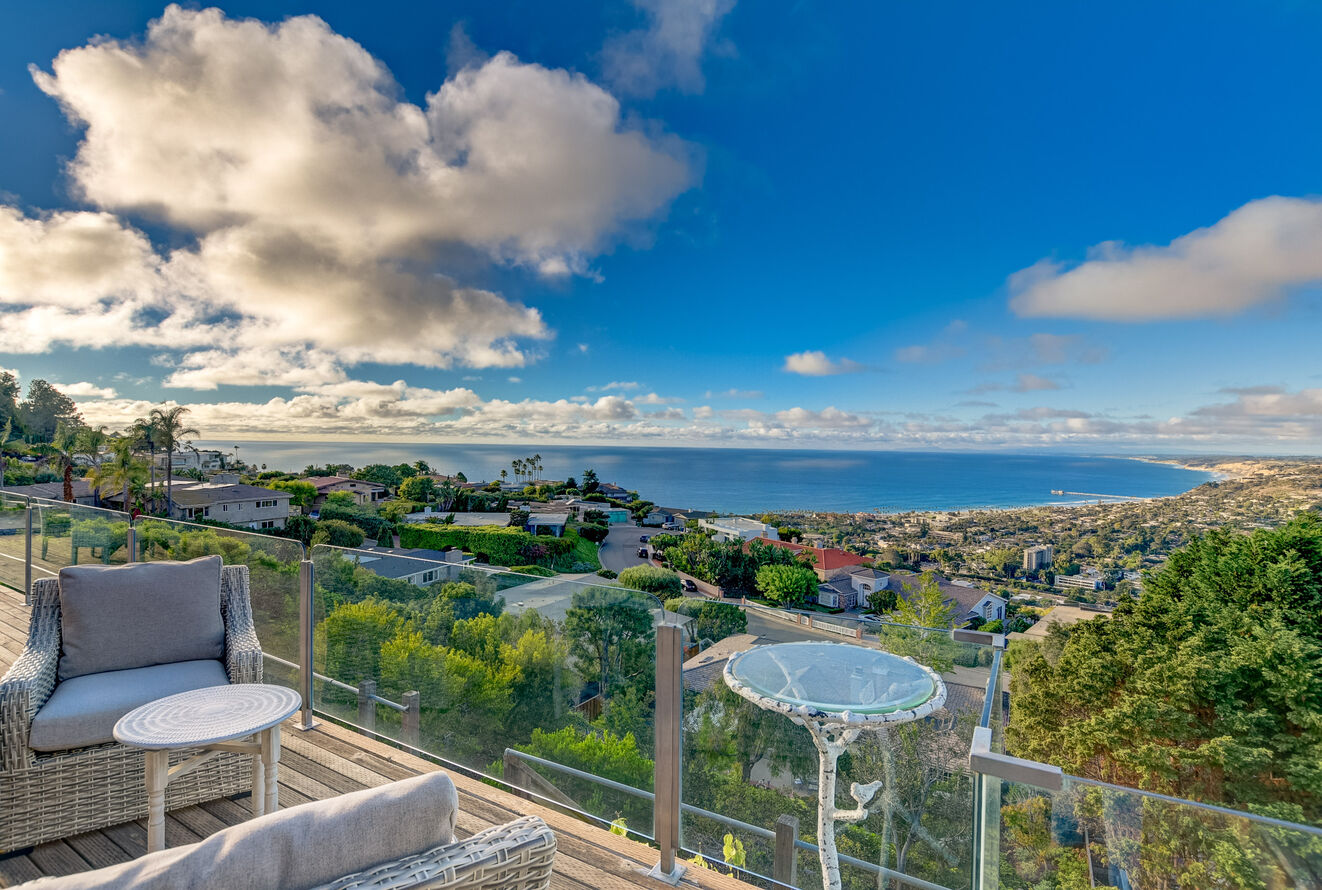 The balcony's clear railing is perfect to keep you safe, but not impede the view