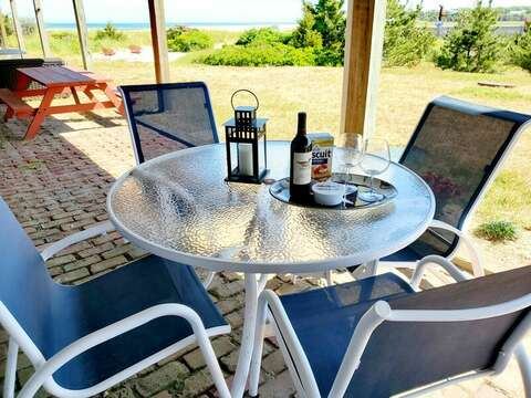 Outdoor table and gas grill along with a beautiful view!18 Starfish Lane Chatham Cape Cod - New England Vacation Rentals