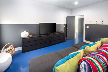 2nd Floor Bedroom and Media Room with 2 Twin Bunk Beds and Shared Bathroom