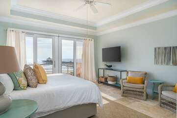 Master bedroom 3 ensuite with balcony and stunning views of the ocean and pier
