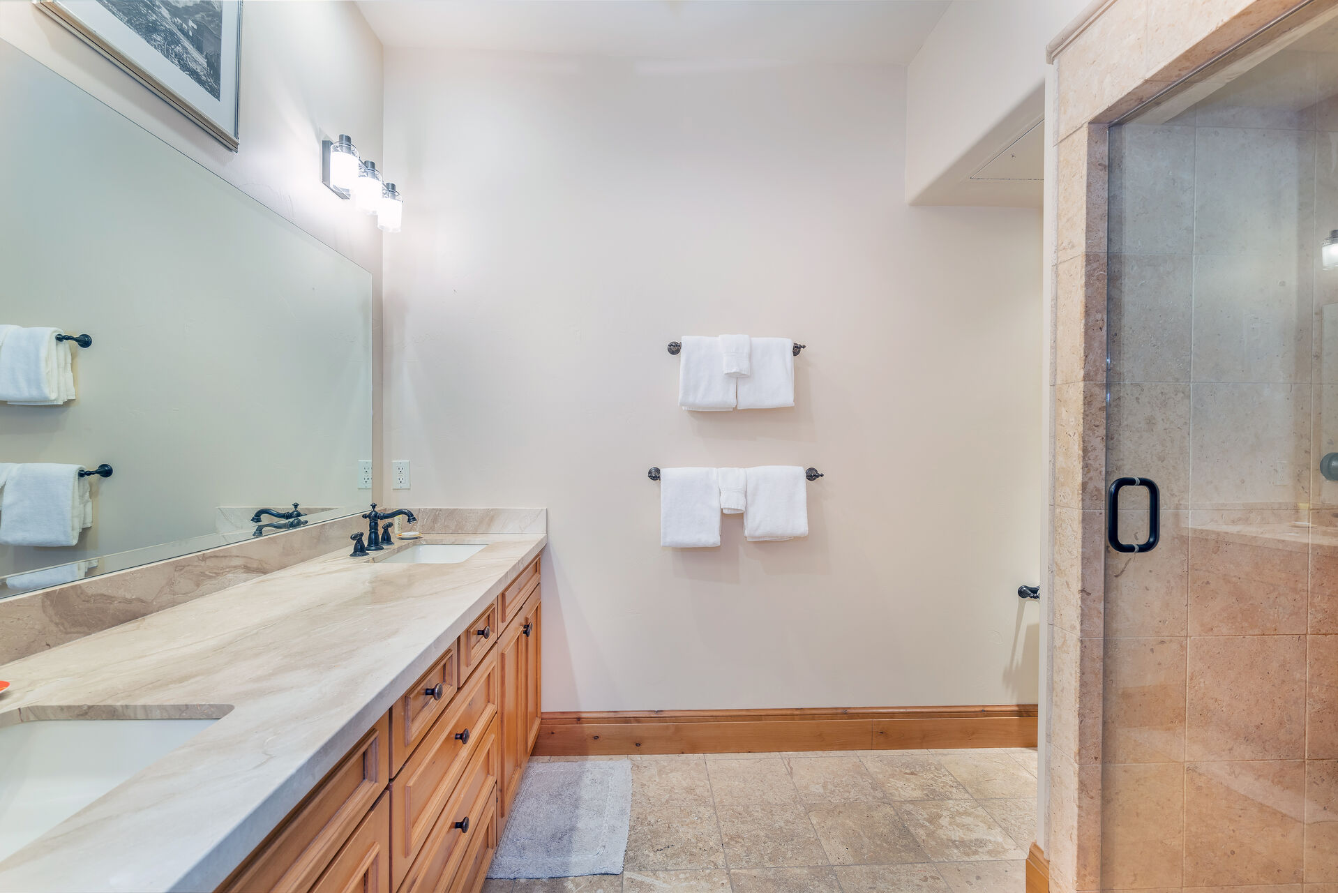 Large master bathroom with walk-in shower