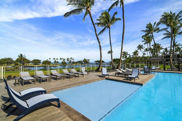 Mauna Lani Terrace Pool Area with Outdoor Chaise Lounge Chairs