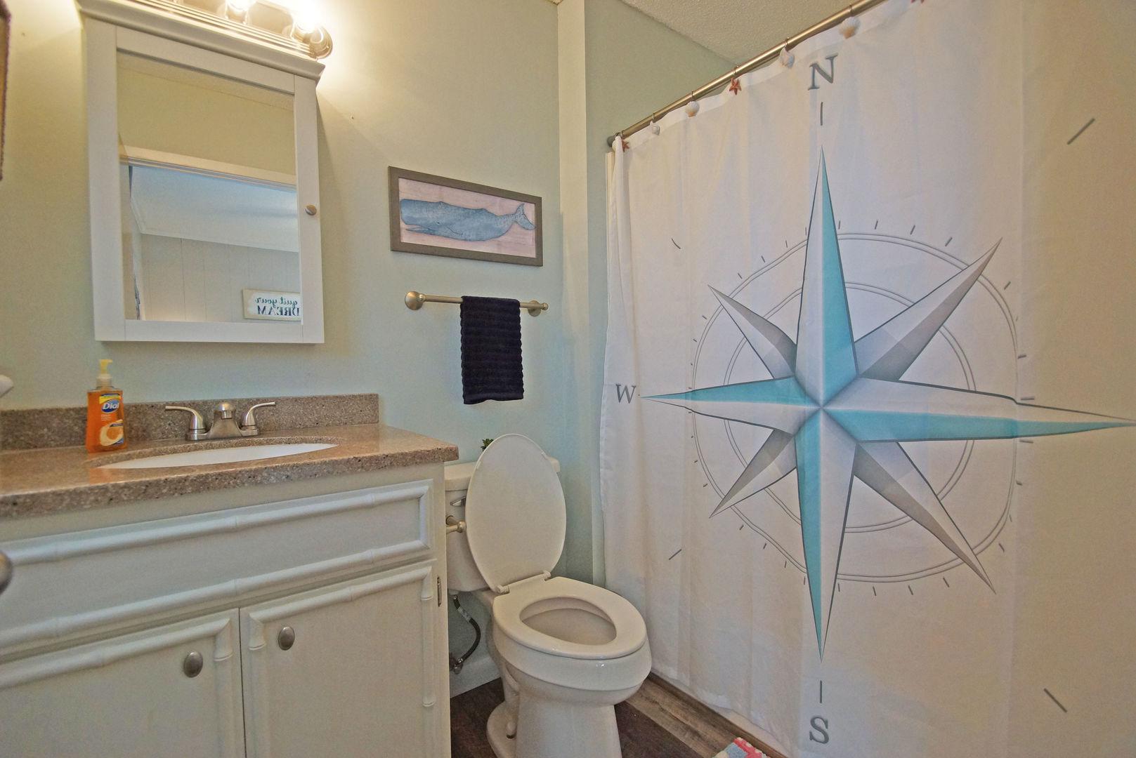 Single Vanity Sink, Toilet, Mirror, and Shower.