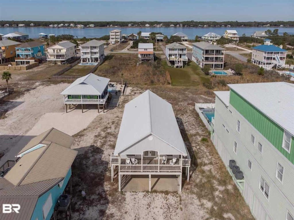 Aerial Picture of our Gulf Shores Cottage Rental.