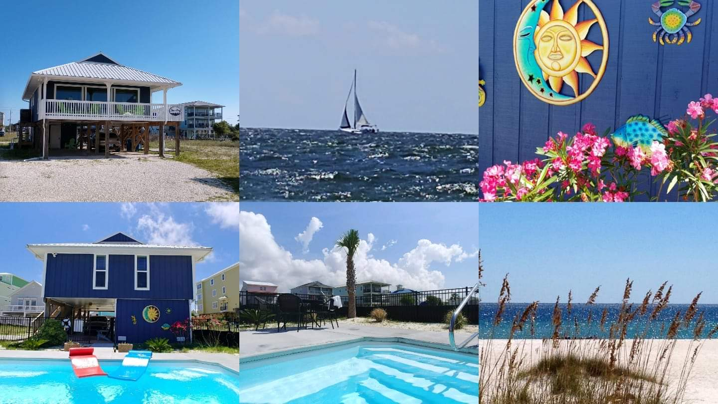 Photo Collage with the Private Pool, Beach, and our Cottage Rental.