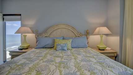 Vibrant king size bed in master bedroom