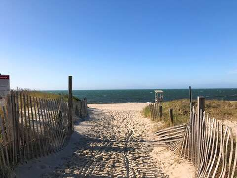 Entry onto South Middle beach - private beach that you can use -just walk down to the end of Run Pond Rd to the path! South Yarmouth Cape Cod New England Vacation Rentals