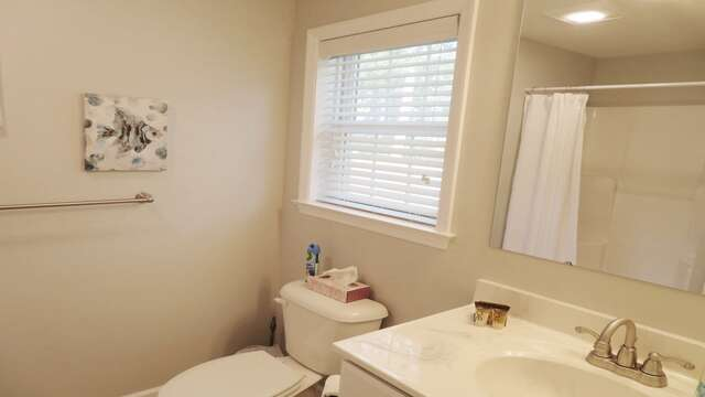 Full bathroom off master bedroom includes shower-10 Melva Street South Yarmouth Cape Cod New England Vacation Rentals