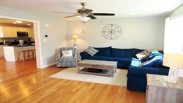 Main level living room is just off of the kitchen and dining area-10 Melva Street South Yarmouth Cape Cod New England Vacation Rentals