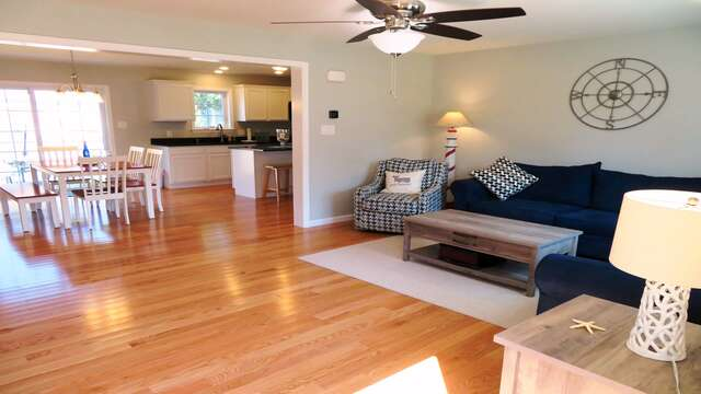 Main level living room offers a comfy spot to unwind-10 Melva Street South Yarmouth Cape Cod New England Vacation Rentals