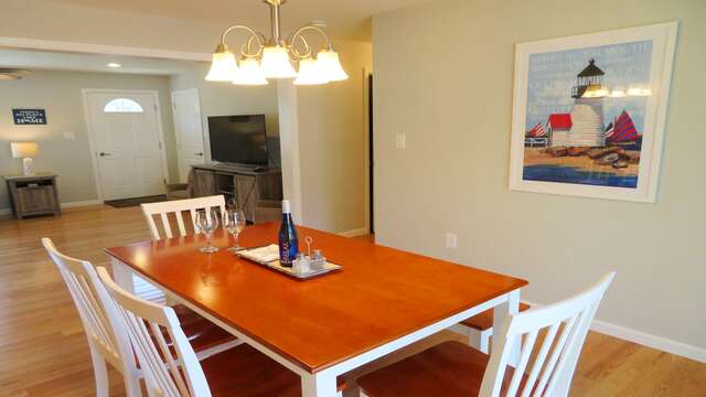 Dining room table includes 4 chairs and bench for casual dining-10 Melva Street South Yarmouth Cape Cod New England Vacation Rentals