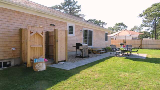 Between the outdoor shower, grill and back patio, you have all the essentials! 10 Melva Street South Yarmouth Cape Cod New England Vacation Rentals