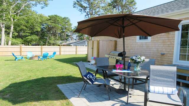 The back patio offers great space to entertain! 10 Melva Street South Yarmouth Cape Cod New England Vacation Rentals