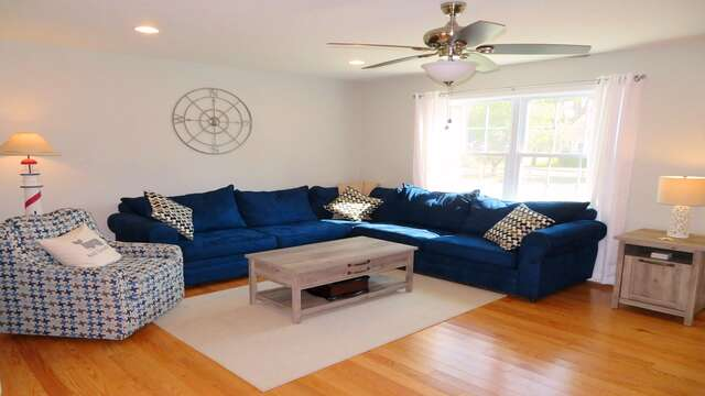 Large sectional is perfect for family movie night! 10 Melva Street South Yarmouth Cape Cod New England Vacation Rentals