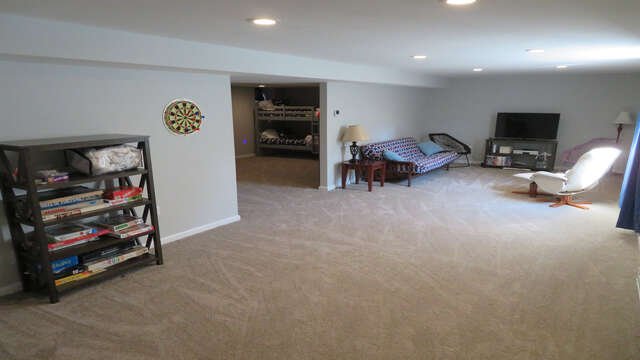 Lower level game room is the perfect space to gather at the end of a long day-10 Melva Street South Yarmouth Cape Cod New England Vacation Rentals