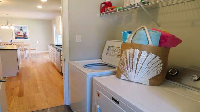 Washer and dryer conveniently located at side entry of home -10 Melva Street South Yarmouth Cape Cod New England Vacation Rentals