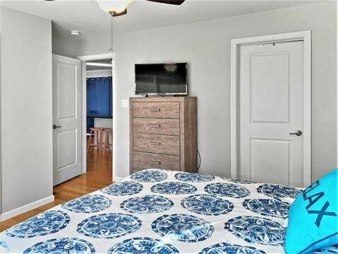 Master bedroom which is off the kitchen with full en suite bath and flat screen TV-10 Melva Street South Yarmouth Cape Cod New England Vacation Rentals