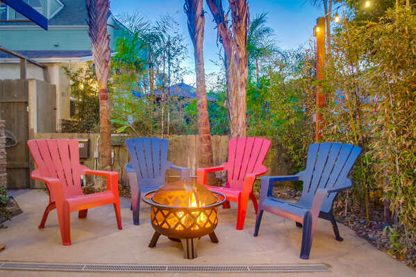 Fire Pit and Patio Chairs.