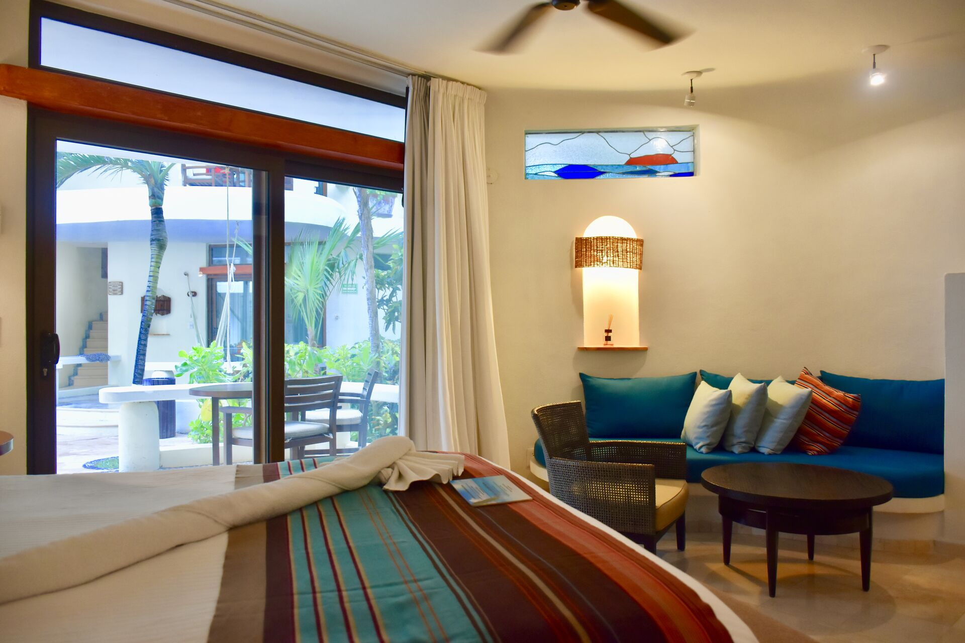 Fully furnished ocean view room.