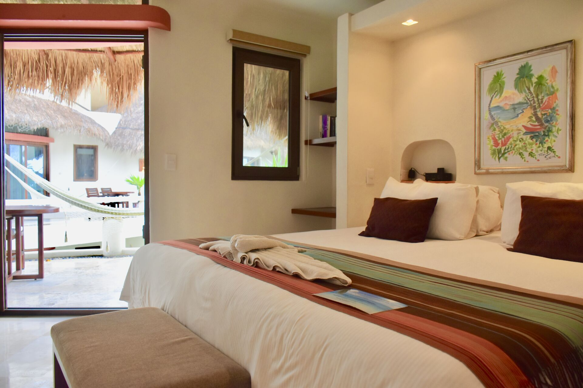King size bed room with large balcony.