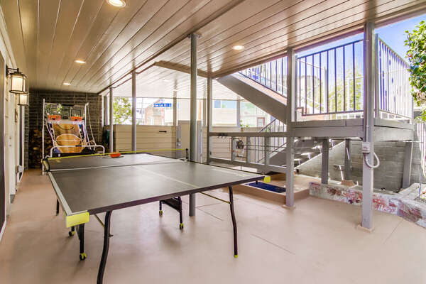 Patio with Ping Pong Table and Basketball Game