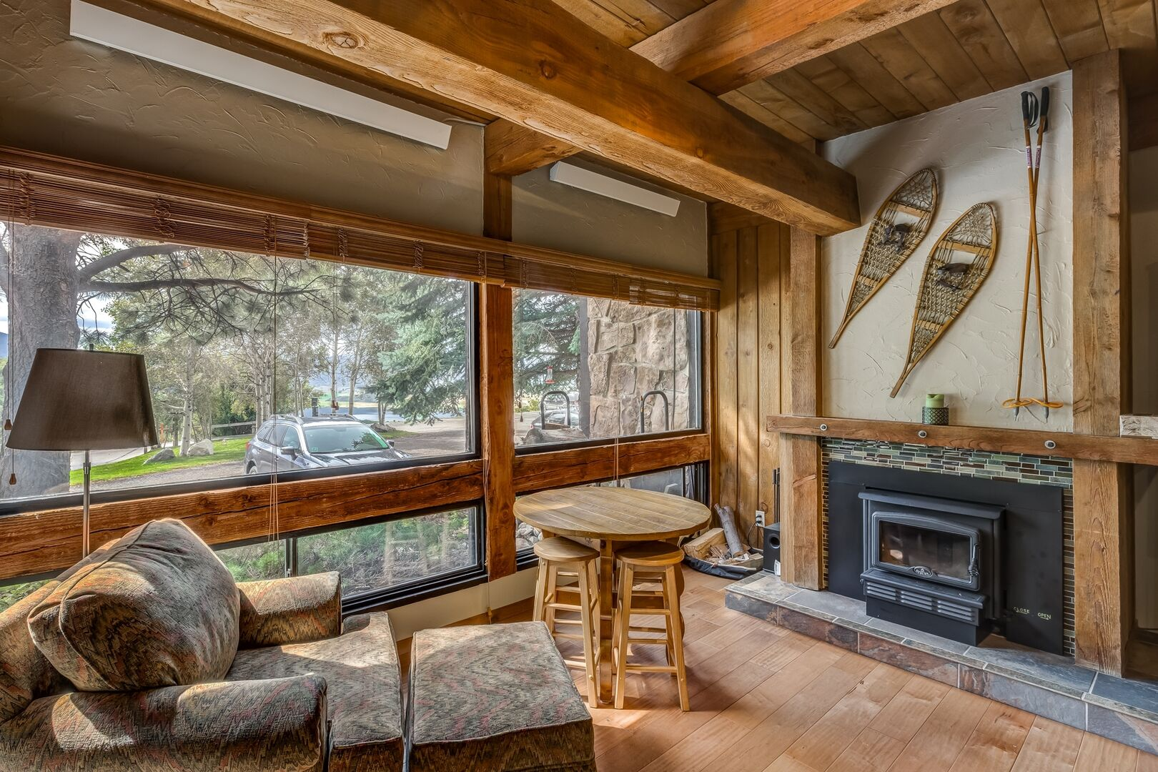 Great views next to the wood burning fireplace