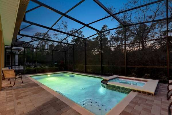 Spend evenings with your family poolside at your own private screened in pool.