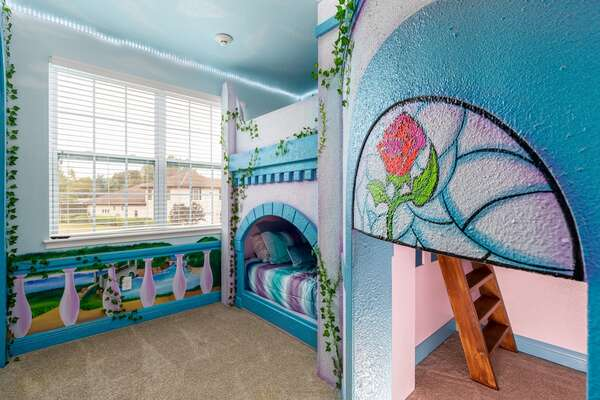 With a twin/twin bunk and fun slide