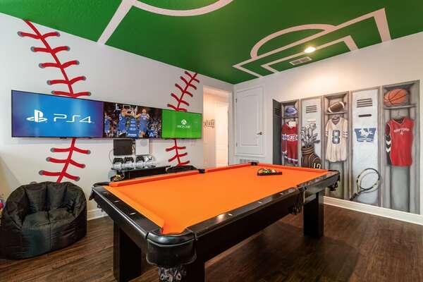 Play a game of pool, foosball or multi-arcade games