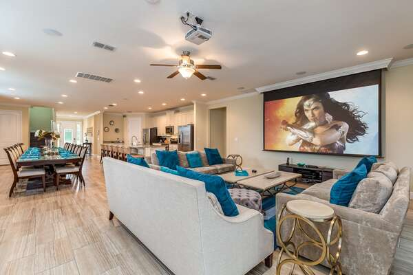 Enjoy a favorite movie together as a family on the 120-inch retractable projector screen, complete with 5.1 surround sound, a 4K Apple TV, upgraded cable and a Blu-ray player