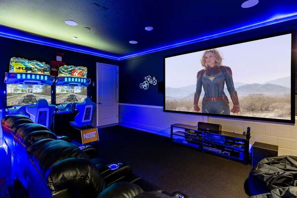 Complete with 8 seats, a 135-inch projector screen, HD projector, 9.1 THX surround sound, 4K Apple TV, Cable, Blu-Ray, PS4 and Xbox One X