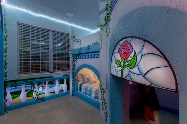 The bedroom features custom lights for magical evenings
