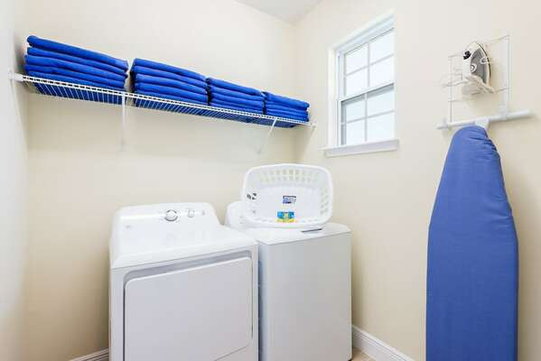 The home is equipped with a washer and dryer
