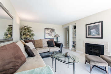 Comfortable space for everyone to relax by the gas fire place!