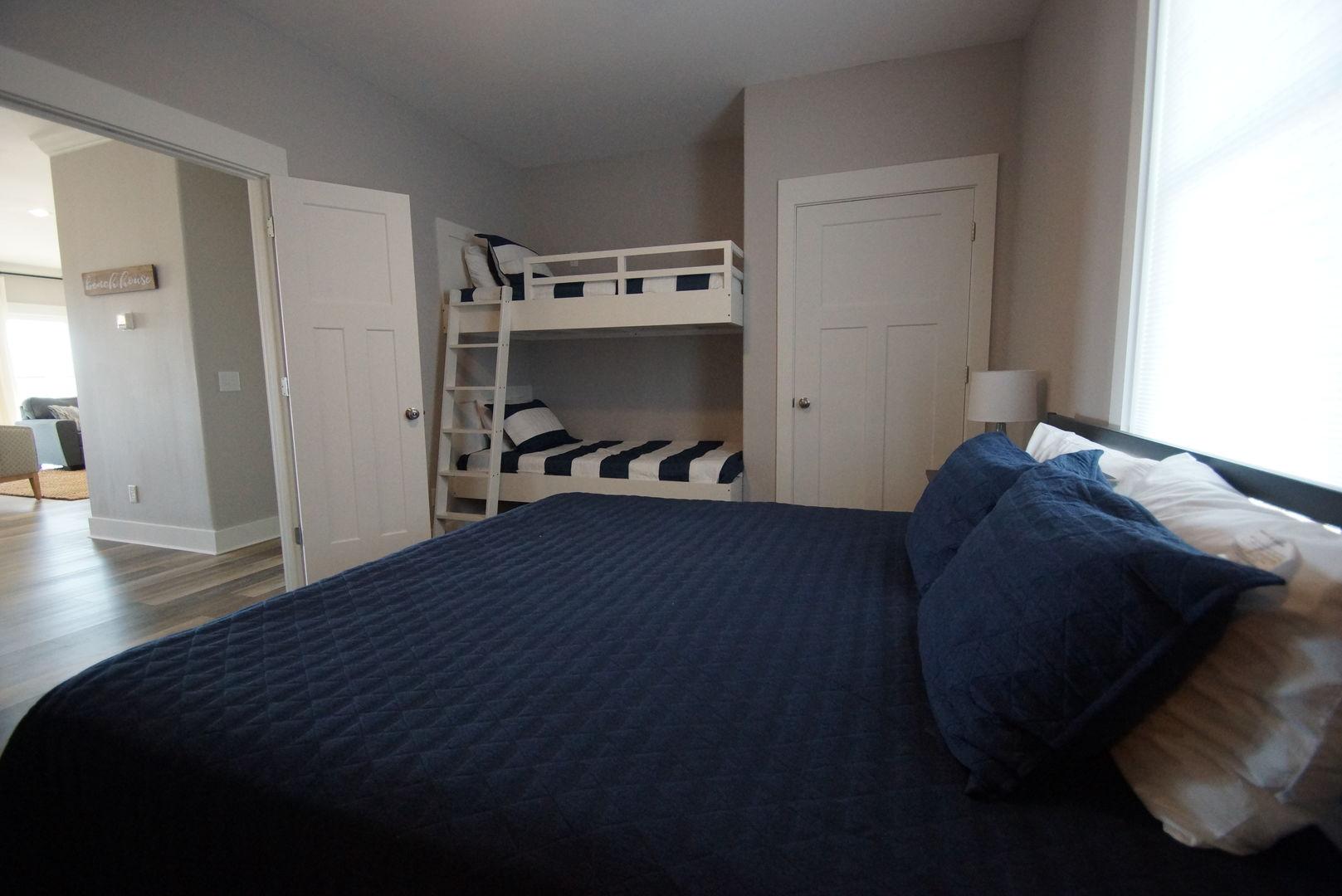 Bedroom #3 has a king and bunks to sleep 4.