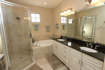 Master Bath with double sinks walk in shower and soaking tub